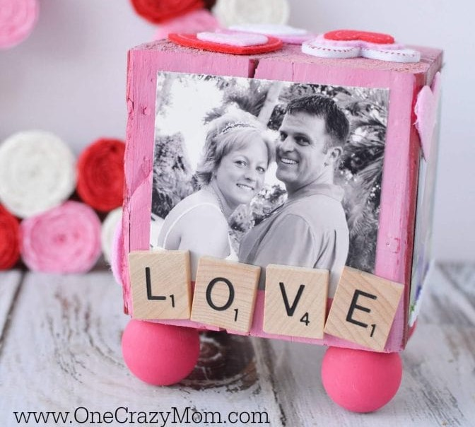 The easy homemade DIY personalized photo blocks are great for grandparents