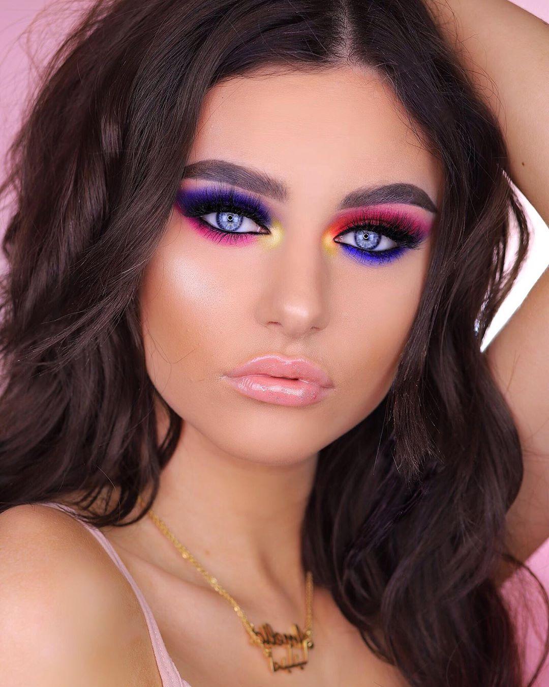 Maquiagem sombra neon colorida invertida