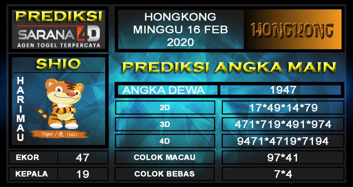 Prediksi Togel Hongkong 16 Februari 2020 - Angka Main