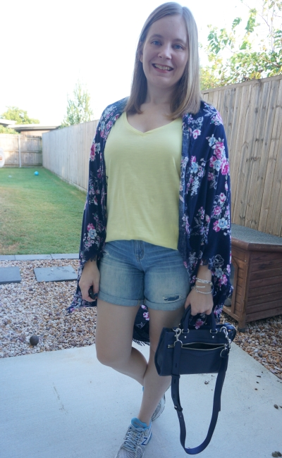 navy floral kimono with yellow tee distressed denim shorts mum style | awayfromblue