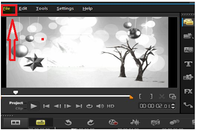 Menu file di corel video studio