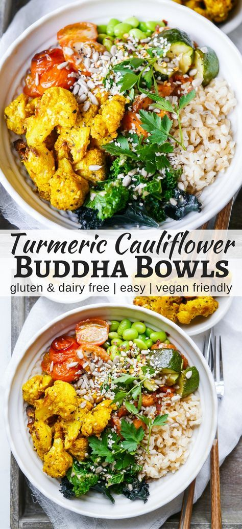 Roasted Turmeric Cauliflower Buddha Bowls make such a colourful healthy meal! This vegan and gluten free recipe is really easy to make and is very flexible, it can accommodate whatever veggies you…
