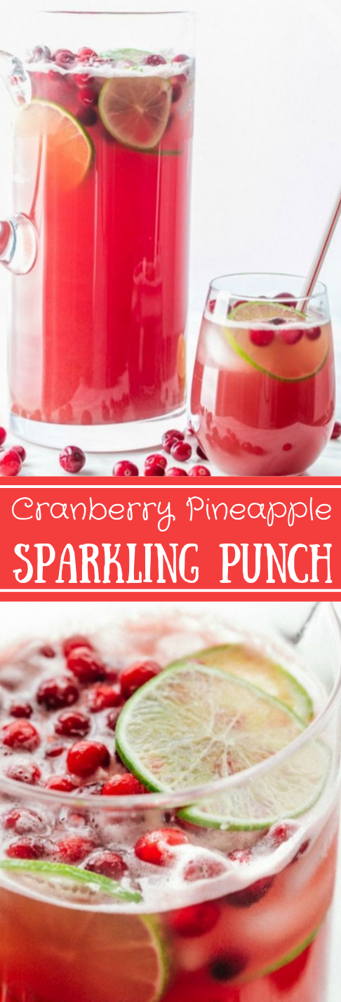 Sparkling Cranberry Pineapple Punch #drink #party #pineapple #cranberry #sangria