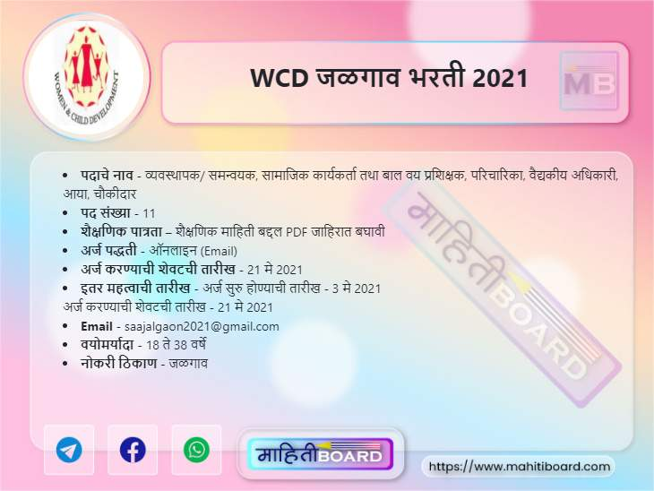 WCD Jalgaon Recruitment 2021