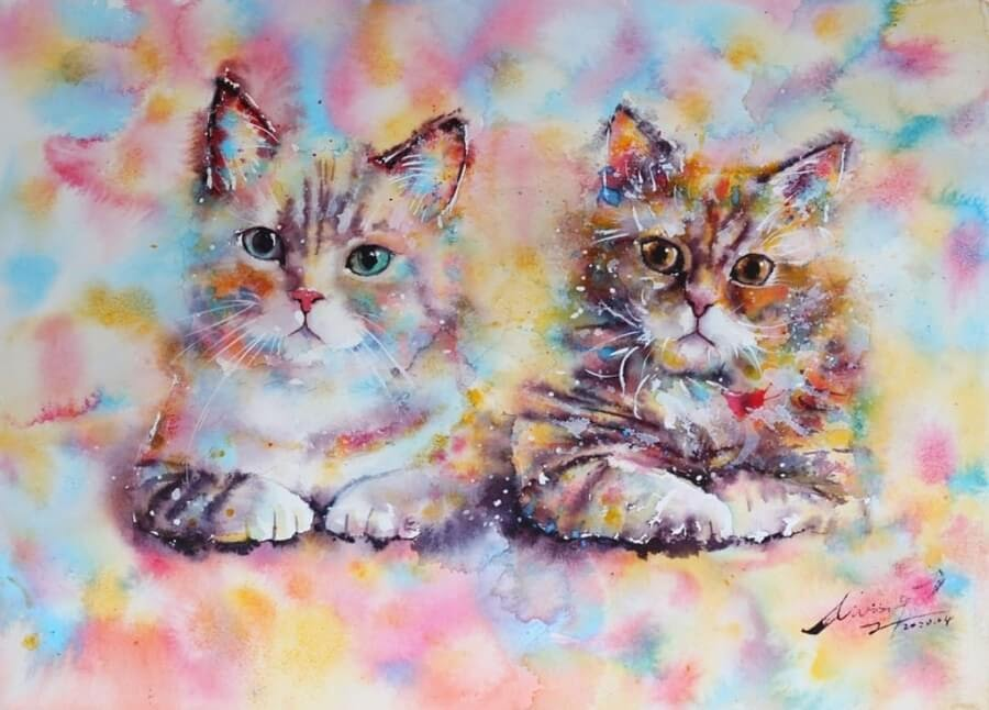 06-Cat-Watercolor-Paintings-liviing-www-designstack-co
