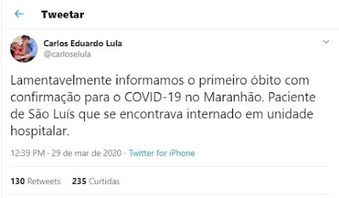 Morre primeira pessoa infectada por coronavírus no Maranhão