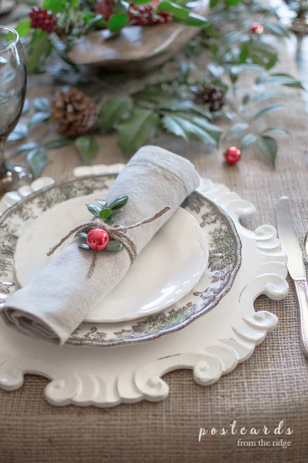 wood charger plate and rustic, natural Christmas table decor