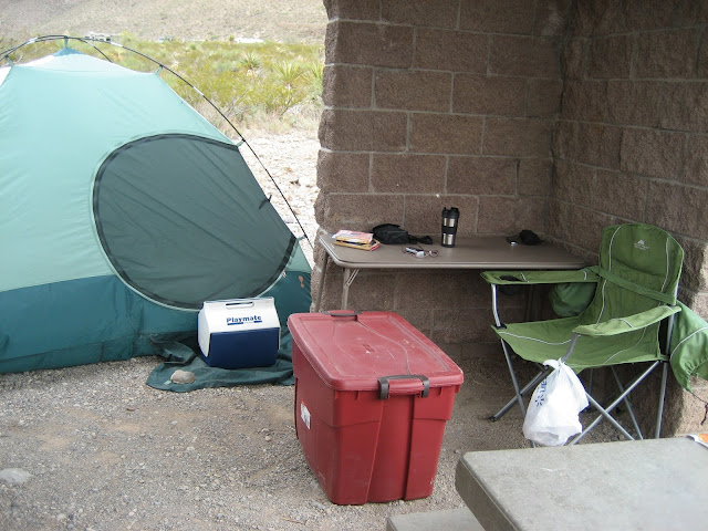 My Oliver Lee State Park campsite, outside Alamogordo, New Mexico. September 2012.