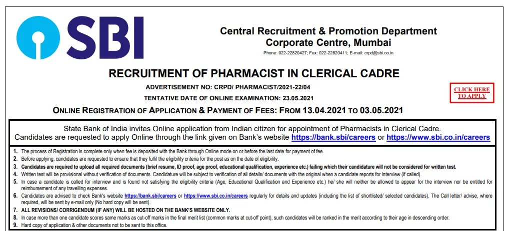 sbi pharmacist clerk salary