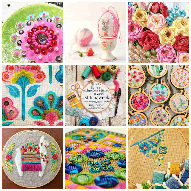 Collage of Needlecraft finds from instagram including ribbon embroidery, cross stitch and needlepoint in spring colours