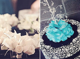 Wedding Card Box in black, white and teal with a fountain of crystals. Designed by Grace Baxter.