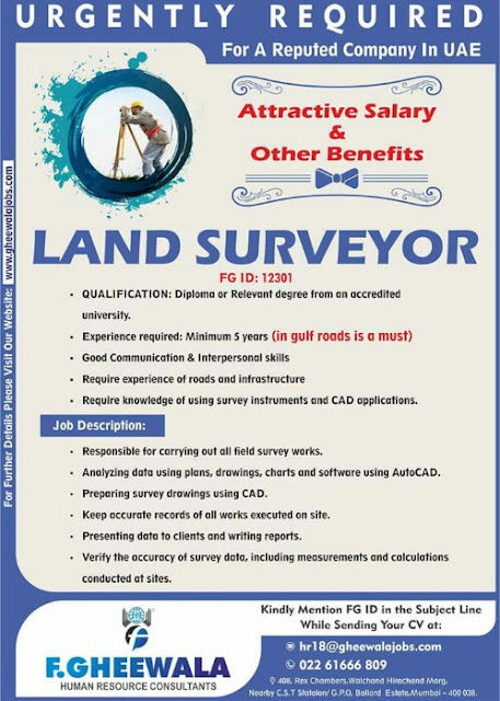 Gulf Jobs - Land Surveyor for UAE | F. Gheewala Human Resource Consultants