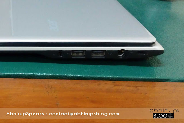 Review on Acer Aspire V5-123-notebook showing images of HDMI - Ethernet ports