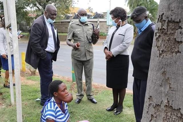 Kitui Governor Charity Ngilu stops her motorcade to meet Pendo