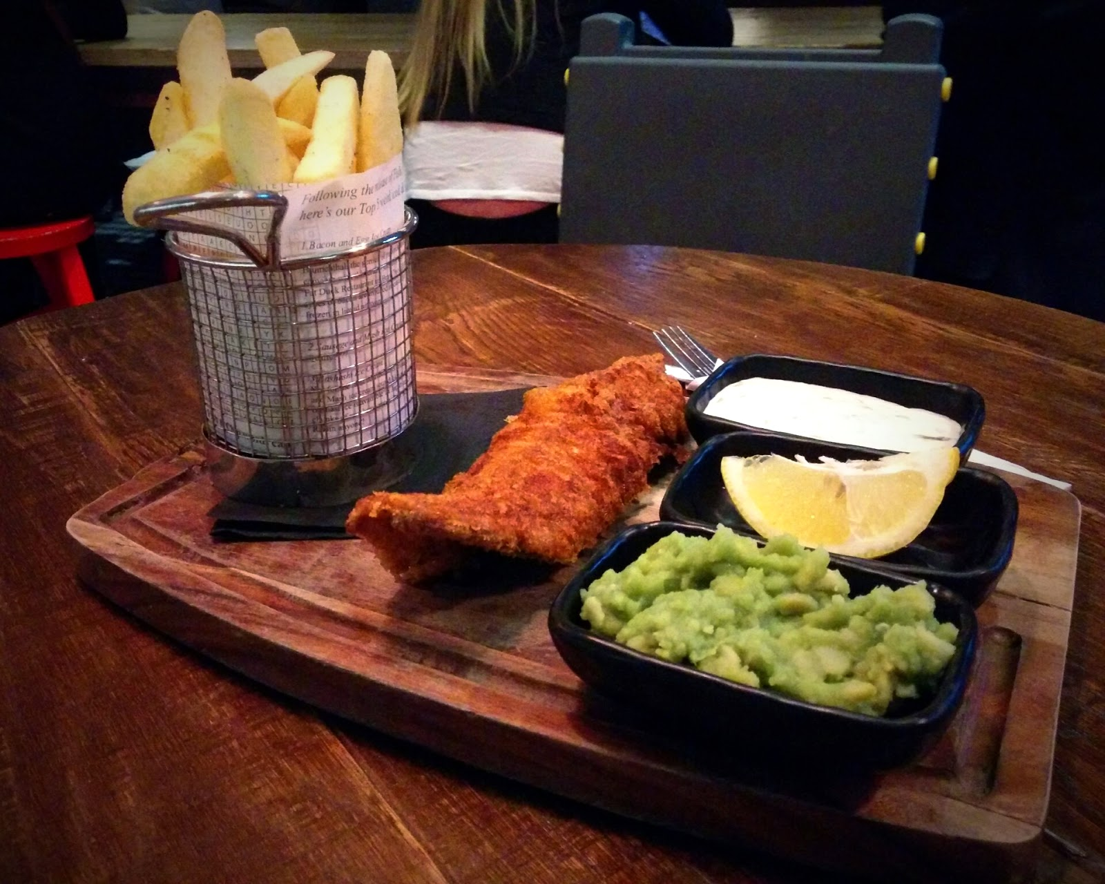 Fish, chips and mushy peas