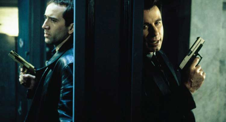Nicholas Cage and John Travolta battle in Face/Off.