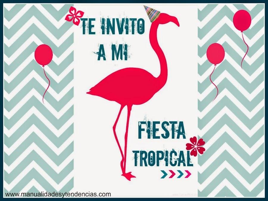 invitación fiesta tropical imprimible gratis