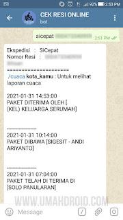 Hasil Lacak Resi Lewat Telegram