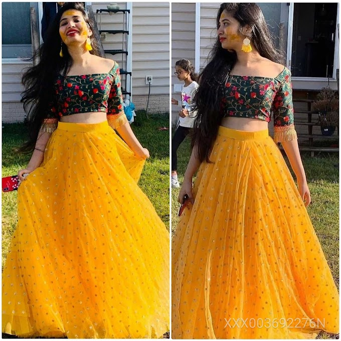 Color Bucket Yellow Net Semi Stitched Embroidery Lehenga Free Size Choli for women