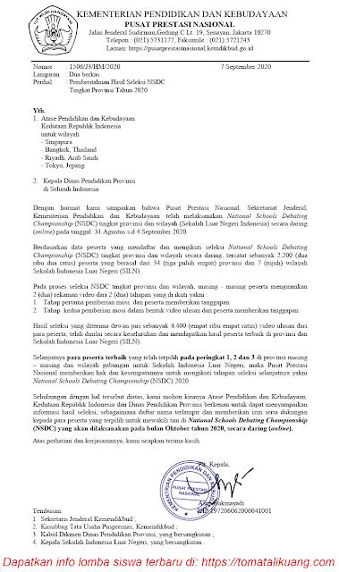 hasil seleksi nsdc tahun 2020 tingkat provinsi dan wilayah tomatalikuang.com