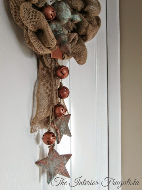 Copper Painted Ornaments Embellish Rustic Burlap Holiday Wreath