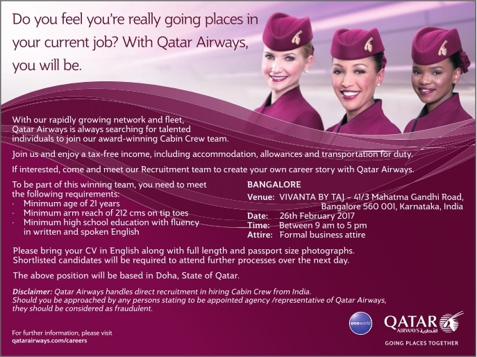Qatar airways cabin crew recruitment bangalore 2017 for Cabin crew recruitment 2017