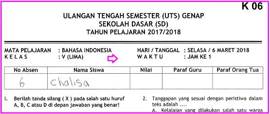 Soal UTS 2 Bahasa Indonesia Kelas 5 SD Terbaru dan Kunci Jawaban