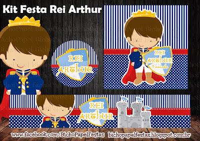 kit rei arthur azul e vermelho