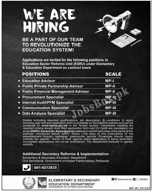 Elementary & Secondary Education Department KPK Jobs 2021 – Apply Online