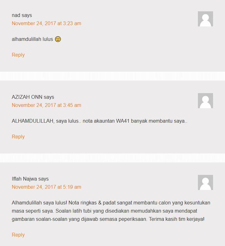 Rujukan PSEE Akauntan WA41 Terkini