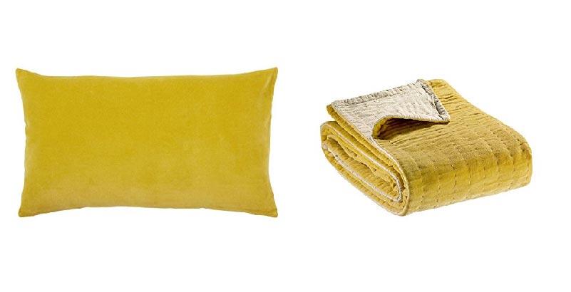 cuscino e plaid giallo Vivaraise