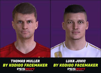 PES 2017 Faces Thomas Mueller & Luka Jovic by Kodigo
