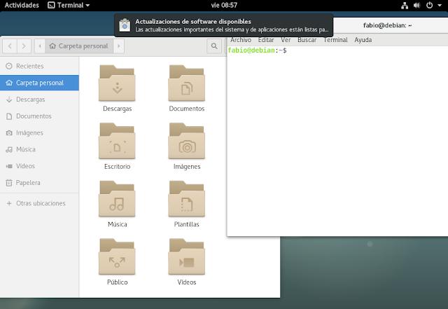 Pantalla de la distribución Debian GNU/Linux