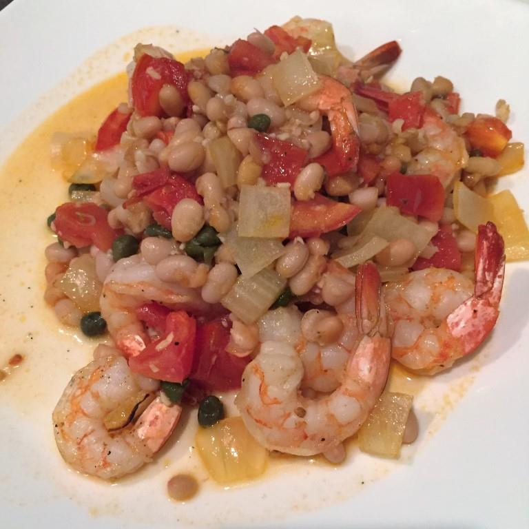 ... Quick Skillet Dinner – Broiled Shrimp with Tomatoes and White Bean
