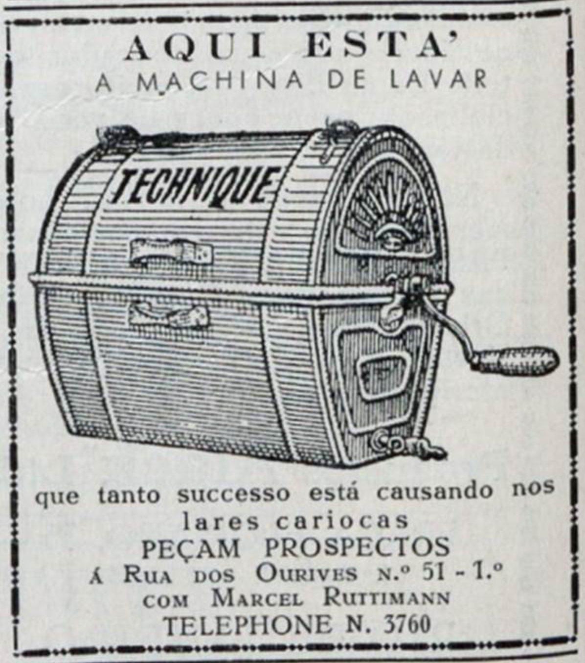 Anúncio veiculado em 1929 promovia a máquina de lavar Technique