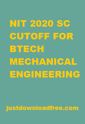 NITs SC CUTOFF 2020 FOR BTECH MECHANICAL ENGINEERING (ROUND 6 RANK WISE)