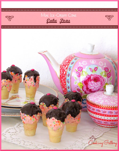 These mini ice-cream cone cake pops are great for tea time too :D)!!