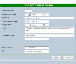 Aplikasi Buku Agenda Surat Keluar dan Surat Masuk