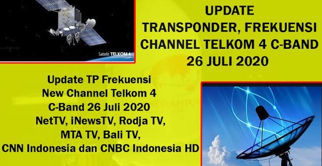 Update TP Frekuensi New Channel Telkom 4 C-Band 26 Juli 2020 NetTV, iNewsTV, Rodja TV, MTA TV, Bali TV, CNN Indonesia dan CNBC Indonesia HD