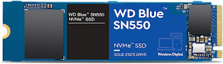 SSD WD Blue SN550 500GB M.2 PCIe NVMe Leituras: 2400Mb/s e Gravações: 1750Mb/s - WDS500G2B0C