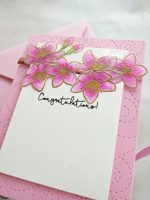 Blog hop, Video Tutorial, Pretty Pink Posh, floral card, vellum, heat embossing, pretty pink posh cherry blossoms stamp set, Simon says stamp stitched whirl die, coloring vellum flowers, vellum card, vellum flowers, spring card, quillish,  carfty giveaway,