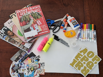 supplies like magazines, stickers and markers