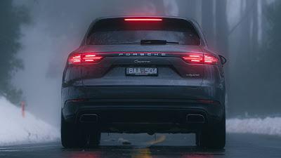 Road, Winter, Porsche Cayenne, SUV, Gray Car, Rear view