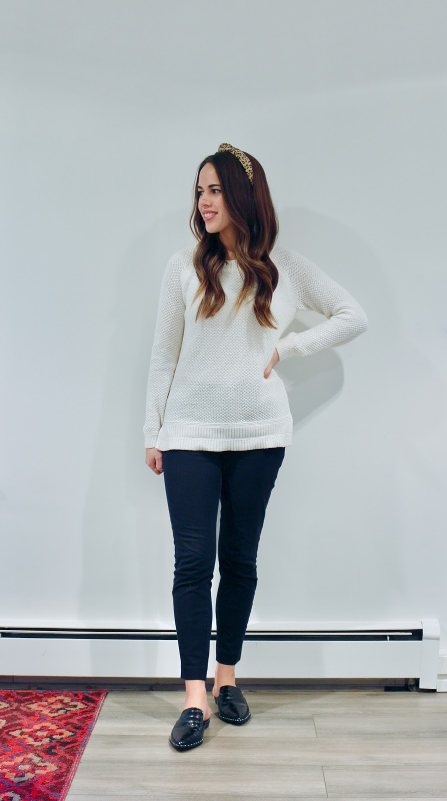 Jules in Flats - Textured Knit Sweater + Leopard Headband (Business Casual Winter Workwear on a Budget)