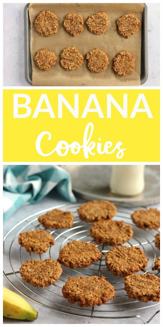 An easy banana cookie recipe using over-ripe bananas from the fruit bowl #cookies #chewycookies #bananacookies