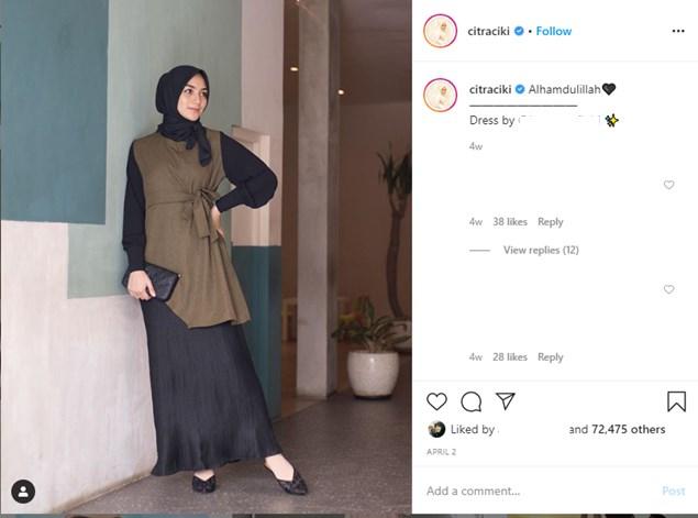 Outfit Simple Dan elegan A La Citra Kirana untuk ramadan