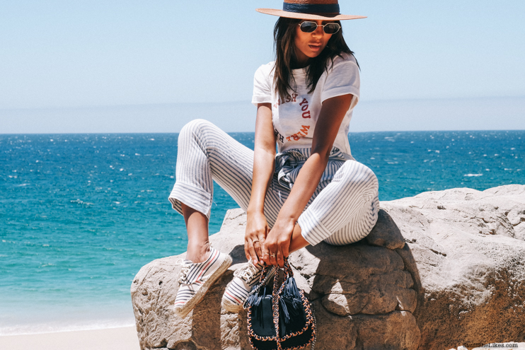 wo what wear collection, how to dress for cabo, janessa leone hats, madewell tee shirt, rebecca minkoff bag, vacation style, Rayban sungalsses, black fashion bloggers, fashion blogger, LA fashion bloggers