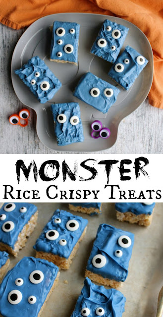 Fun monster rice crispy treats with loads of eyeballs are a cute Halloween treat. They are quick and easy to make and perfect for a party!