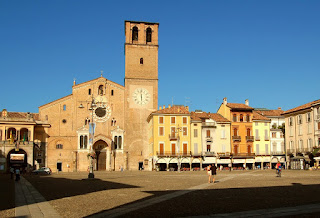 Lodi's beautiful main square, the Piazza della Vittoria. looking towards the 12th century cathedral