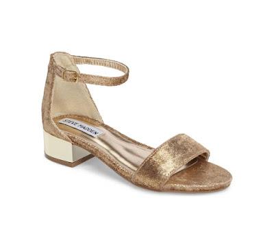 Steve Madden Low Block Heel Gold Sandal